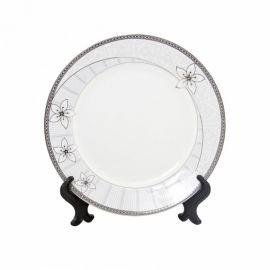 """Тарелка белая фарфоровая с орнаментом """"Бутон"""""""