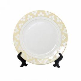 """Тарелка белая фарфоровая с орнаментом """"Кленовый лист"""""""
