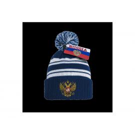 Шапка Russia синяя с красными и белыми полосками и гербом Россия