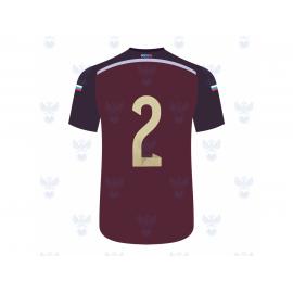Оригинальное нанесение на домашнюю футболку (№ на груди, № и фамилия на спине)