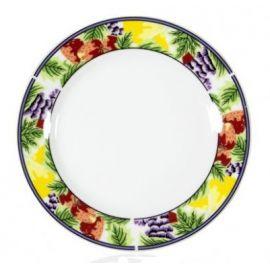 Тарелка керамическая белая с орнаментом клубника 200мм