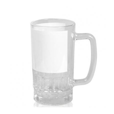Кружка пивная стеклянная с белым полем